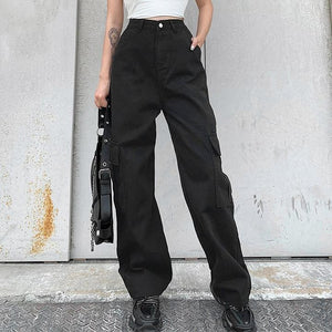 High-Rise Cargo Denim Jeans