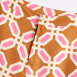 Geometric Print Straight Pants