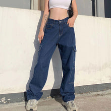 Load image into Gallery viewer, High-Rise Cargo Denim Jeans
