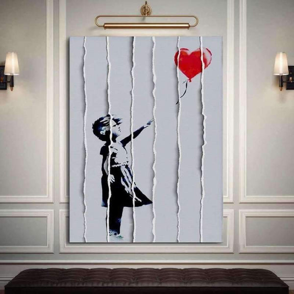 "Banksy ""Girl with Balloon"" in Strips"