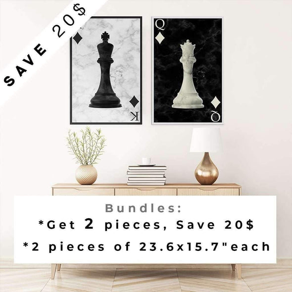 Queen King - Chess Art Framed Print - Couple Print - Chess Print - Wedding print - Wall Art Set - Chess Decor - King Print - Queen Print