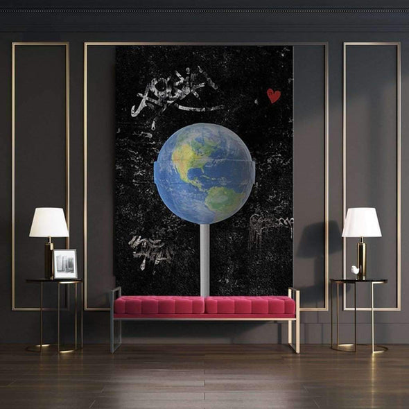 "Motiv-Art Space Art ""earth is melting"" - Space wall art canvas, space art framed print and poster, astronaut artwork inspired"",""Motiv-Art Space Art """"Lift To Space"""" - Space wall art canvas, space art framed print and poster, astronaut artwork inspired, galaxy art canvas, planet artwork, banksy inspired."