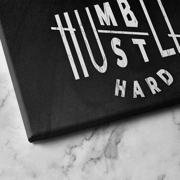 "close look to ""humble hustle hard"" canvas - Motivational Canvas For Office and Coworking - Wall Art Canvas Motivational Quotes – by www.Motiv-art.com"