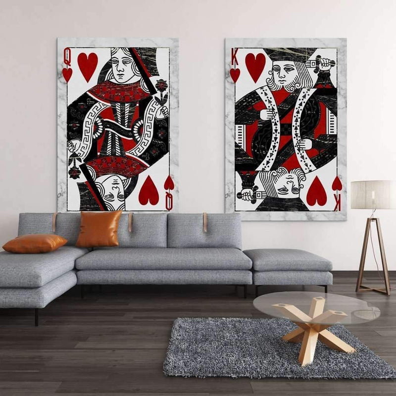 Living Room With King of Heart Motivational Canvas - For Office, coworking, Home  - Wall Art Canvas Motivational Quotes – by www.Motiv-art.com