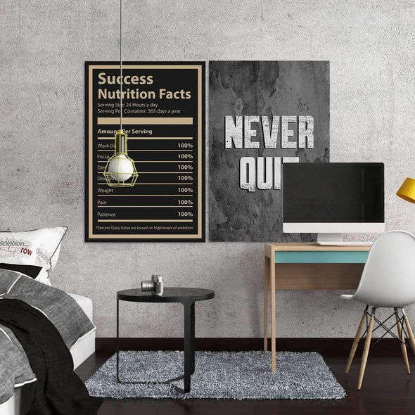"Living room with ""success nutrition facts"" Motivational Canvas For Office, Gym and corworking - Wall Art Canvas Motivational Canvas for Gym – by www.Motiv-art.com"