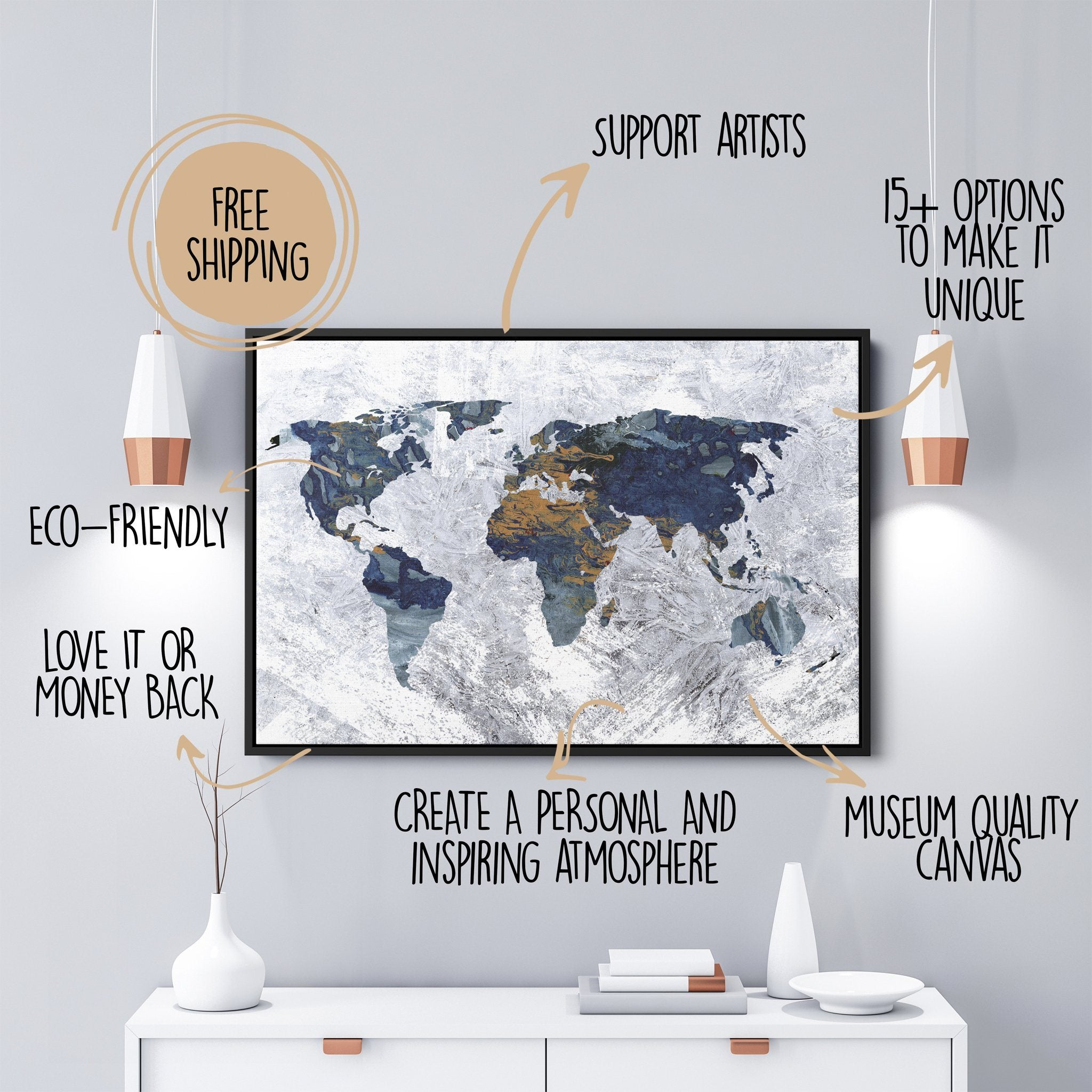 World Map Canvas white and brown