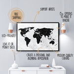 World Map Canvas white and marble black