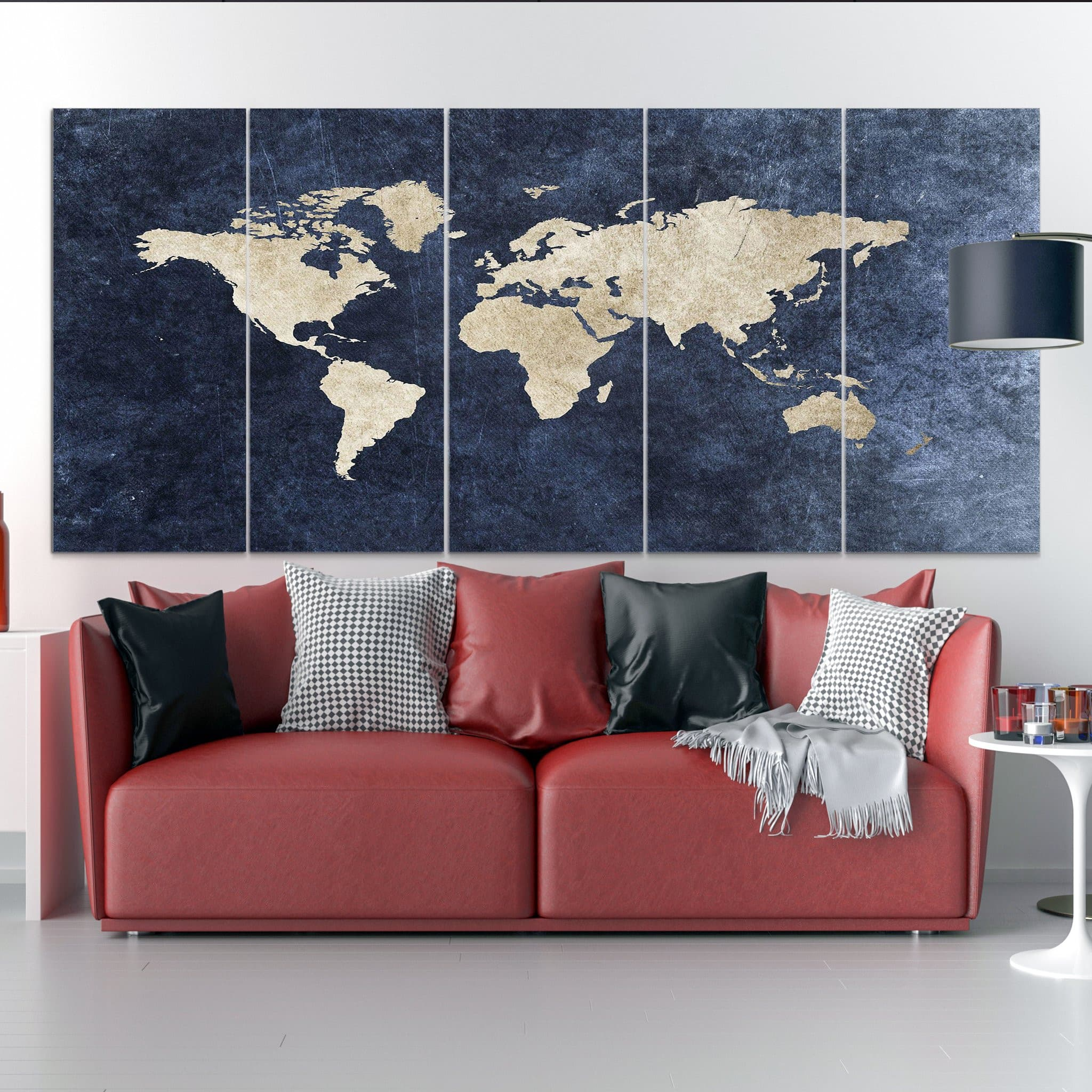 World Map Blue Taupe