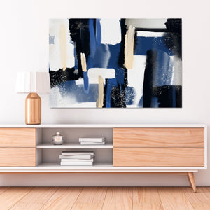 Blue and black Abstract wall art hanging in a living room