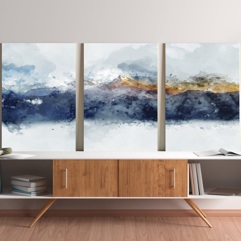 Canvas wall art of abstract, brown and dark blue mountains in the living room