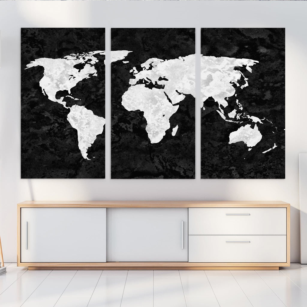 World Map Canvas black and white grunge