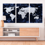 World Map Canvas blue and white
