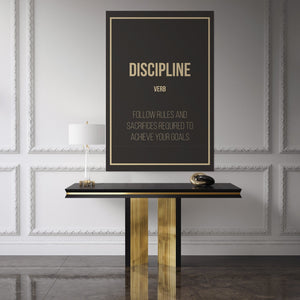 Discipline - definition Discipline - definitio hanging in an office				n
