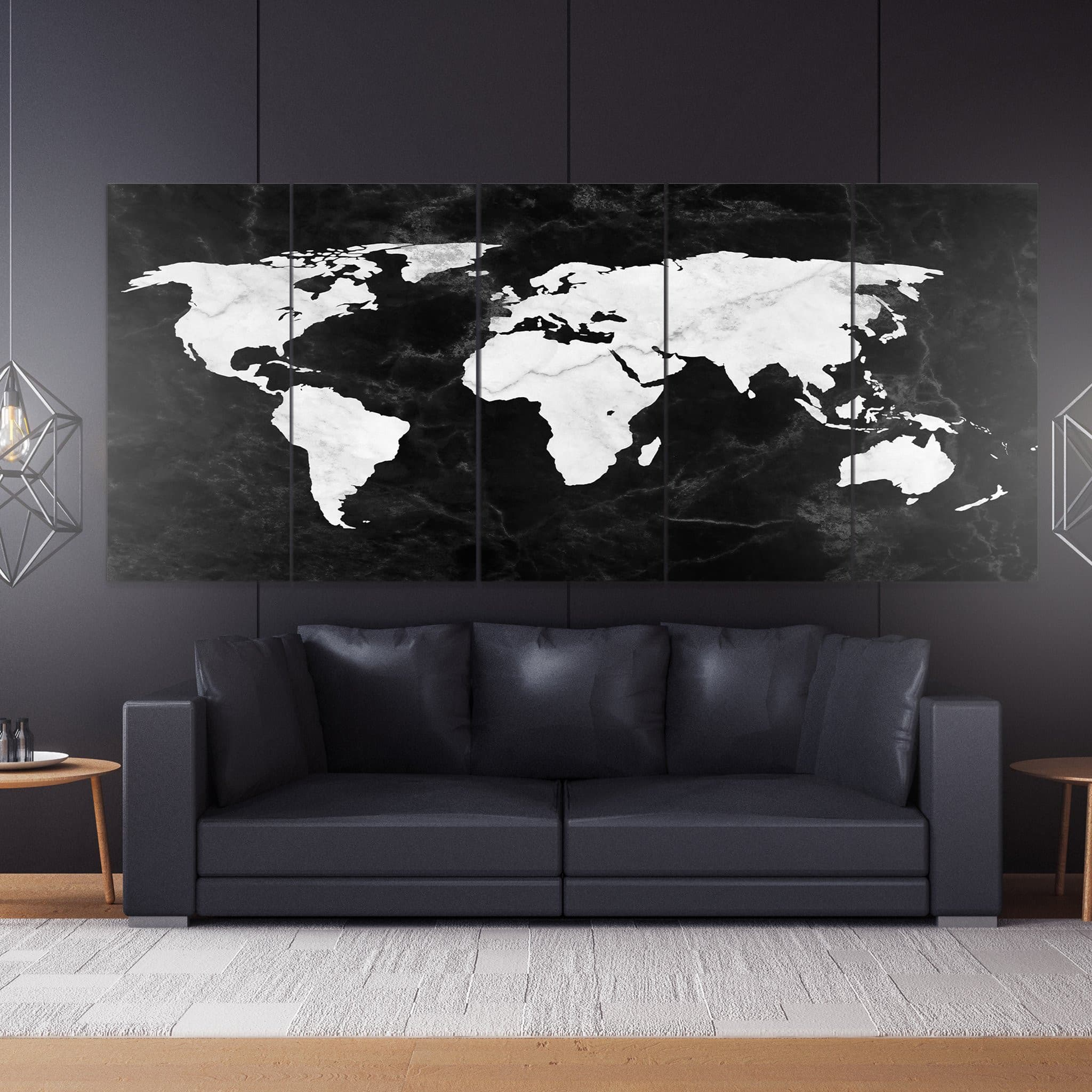 World Map Canvas black and white marble
