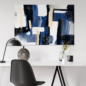 Blue and black Abstract wall art for office