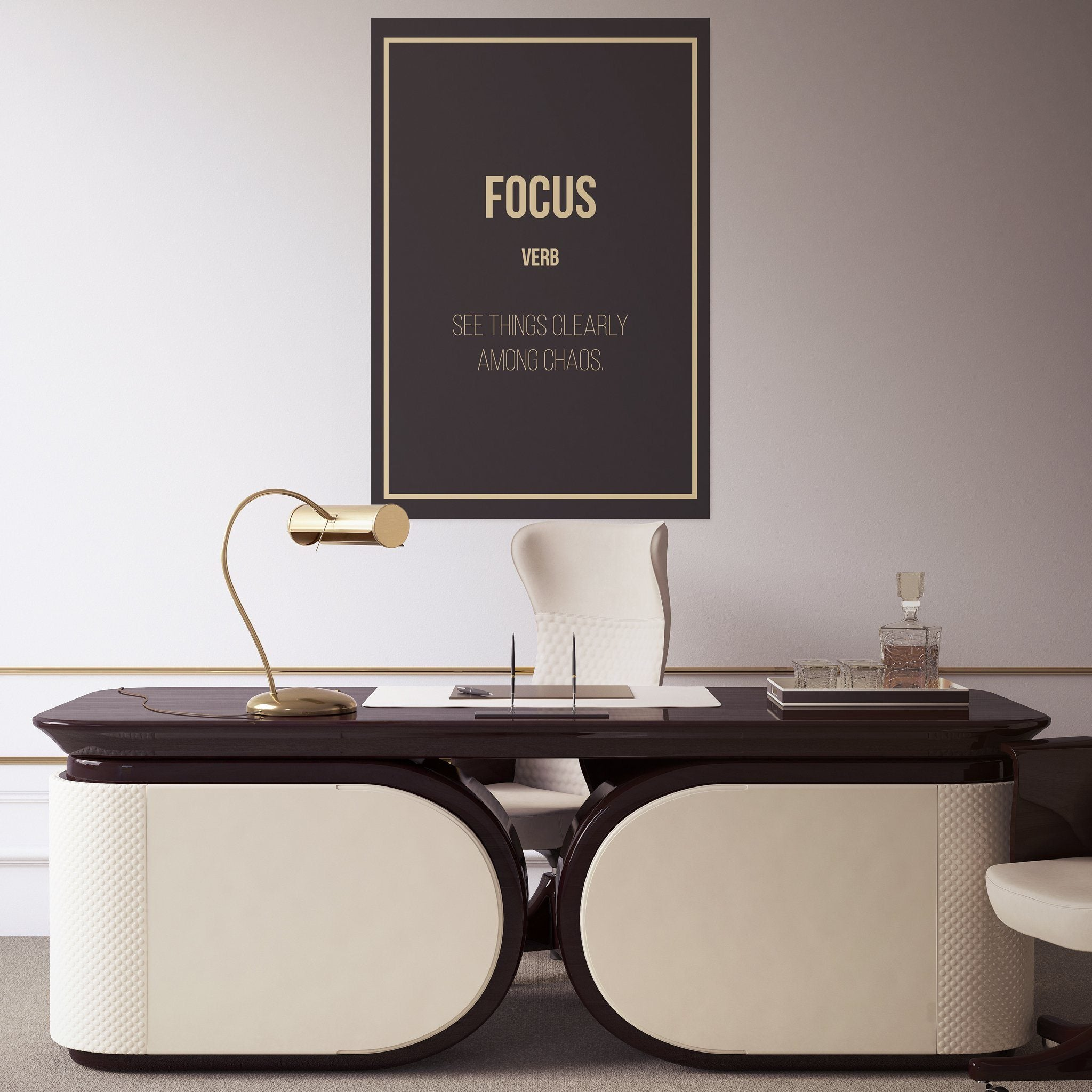 Focus - definition hanging in a office entrepreneur