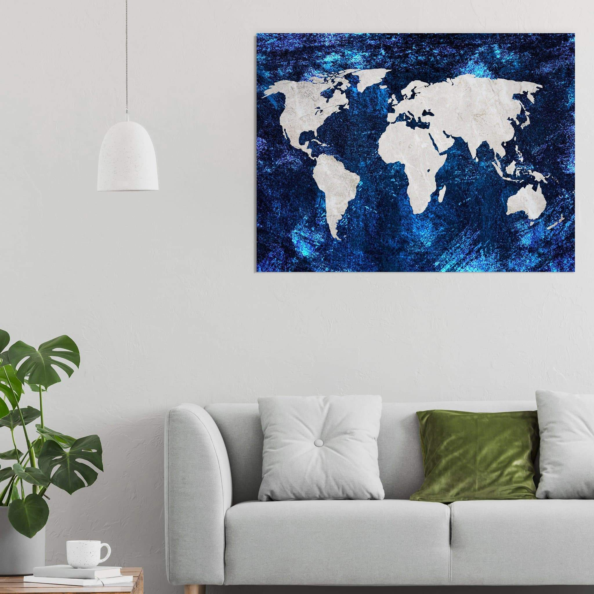World Map Canvas blue and taupe