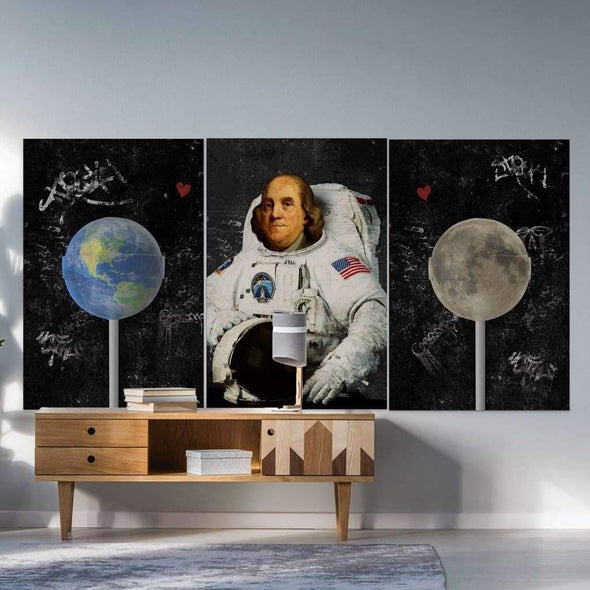 "bundles Space Art ""earth is melting"" - Space wall art canvas, space art framed print and poster, astronaut artwork inspired"",""Motiv-Art Space Art """"Lift To Space"""" - Space wall art canvas, space art framed print and poster, astronaut artwork inspired, galaxy art canvas, planet artwork, banksy inspired."