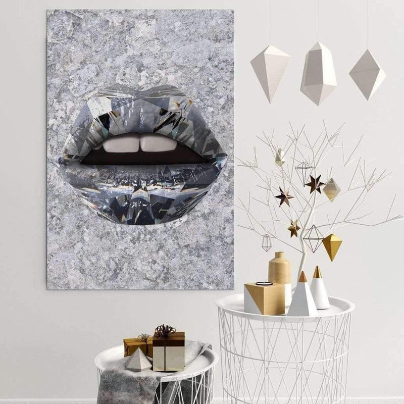 Diamond Lips - Ikonik lips - Lips Canvas Wall Art - lips framed print / Lips Decor / Lips on Poster / Wall Art for Home/ Pop Culture Art