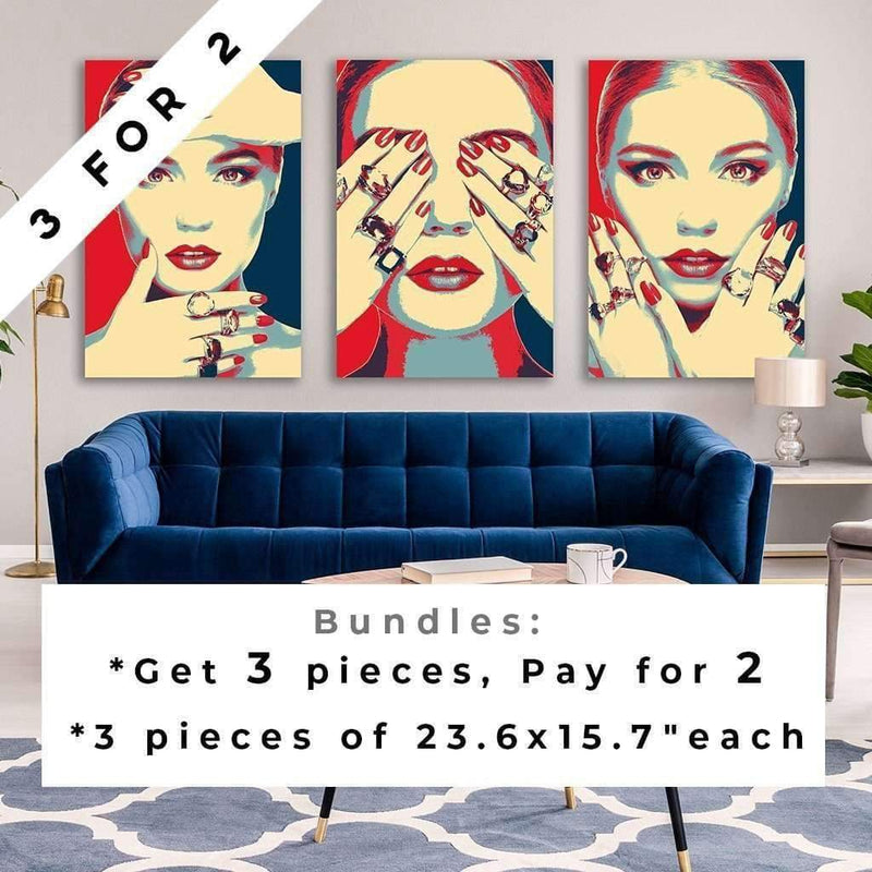 Eyes closed - shepard fairey inspired - Pop art Wall Art / Navy and red canvas for living room / Wall Art/Audrey Hepburn Poster / Audrey Hepburn Canvas - Ready To hang