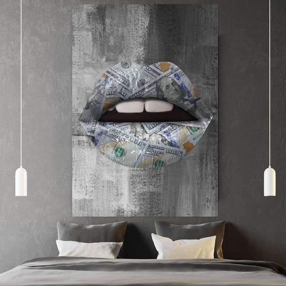 Money Lips - Ikonik lips - Lips Canvas Wall Art - lips framed print / Lips Decor / Lips on Poster / Wall Art for Home/ Pop Culture Art
