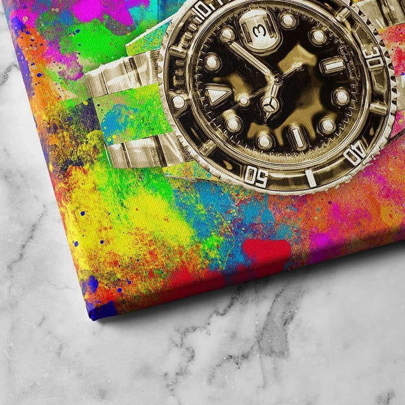 "Close look to ""Rolex Canvas"", Paint Money Wall art, Culture and Pop art, Motivational Canvas - Motiv-Art.com"