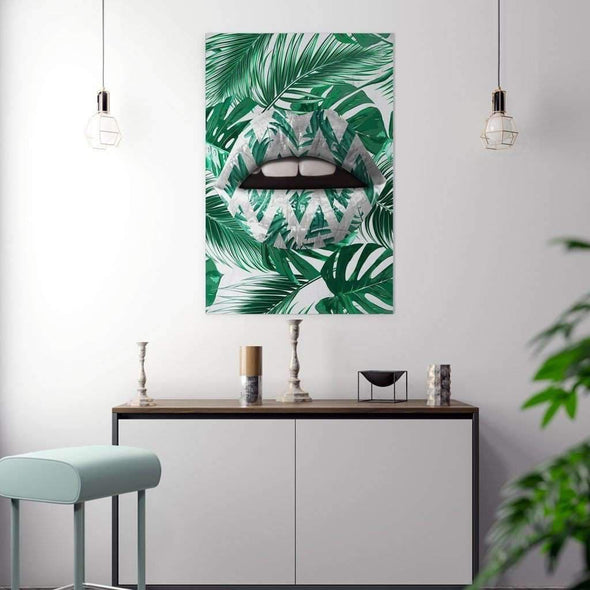 Jungle Lips - Ikonik lips - Lips Canvas Wall Art - lips framed print / Lips Decor / Lips on Poster / Wall Art for Home/ Pop Culture Art
