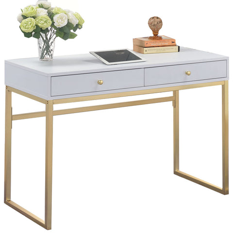 White and Gold Grace Desk