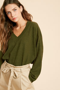Aria V Neck Raw Edge Knit Top - Olive - Cactus Lounge Boutique
