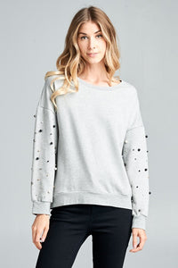 Pearl Sweatshirt - Gray - Cactus Lounge Boutique