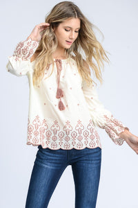 Lauren Embroidered Cream + Mauve Cold Shoulder Ruffle Sleeve Top - Cactus Lounge Boutique