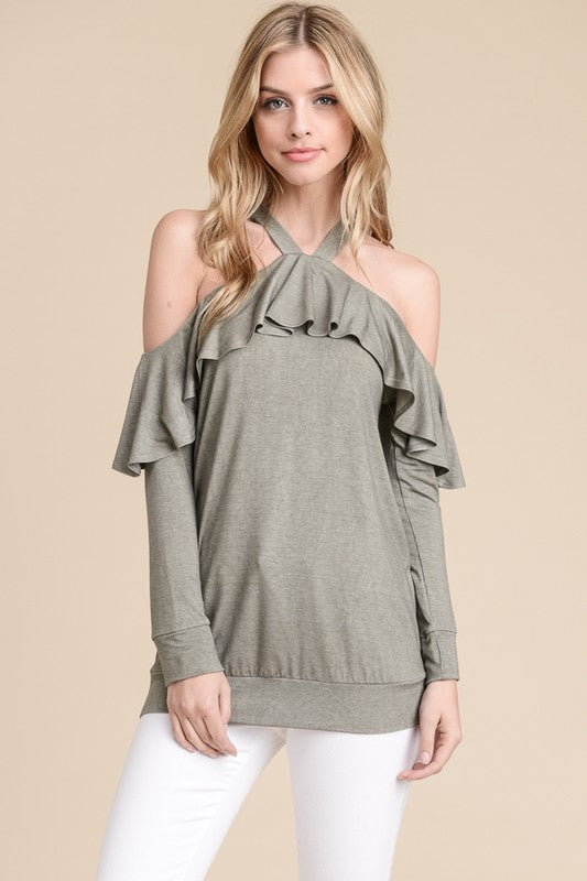 Rebecca Long Sleeve Ruffle Top in Olive