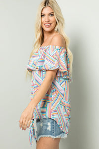 Colorful Striped Off Shoulder Top - Cactus Lounge Boutique