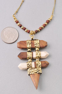 Wood and Gold Necklace