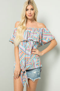 Colorful Striped Off Shoulder Top