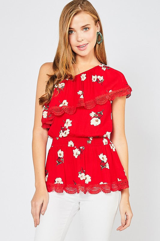Floral Print One Shoulder Top - Tomato