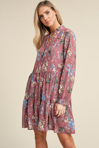 Long Sleeve Mauve Floral Dress