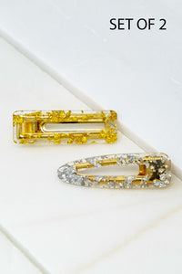 Two Hair Clip Set - Clear Resin with Gold or Silver Nuggets