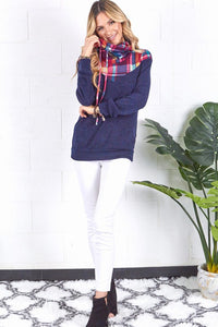 Navy and Pink Plaid Cowl Neck Sweater
