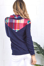 Navy and Pink Plaid Cowl Neck Sweater - Cactus Lounge Boutique