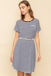 Cannes Stripe Belted T-Shirt Dress