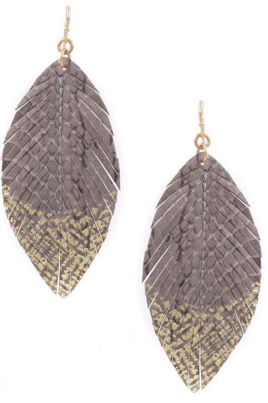 Faux Leather Leaf Drop Earrings - Gray And Gold - Cactus Lounge Boutique