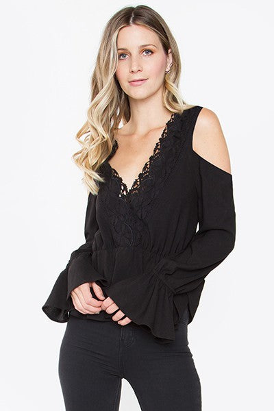 Peplum Lace Trim Cold Shoulder Top - Black - Cactus Lounge Boutique
