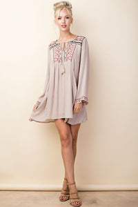 Mojave Embroidered Tan Dress - Cactus Lounge Boutique