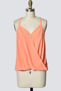 Sleeveless Tank with Criss Cross Front Detail - Coral