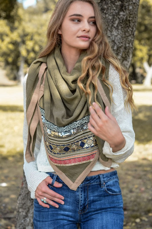 Boho Gypsy Glam Square Cotton Scarf - Cactus Lounge Boutique