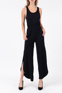Summertime Jersey Knit Jumpsuit - Black