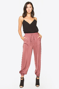 Satin Jogger with Lace Detail - Mauve