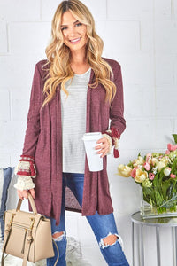 Burgundy Cardigan with Tassel Trim Cuff