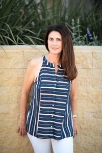 Olivia Striped Sleeveless Top with Side Slits - Navy